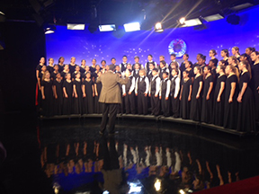 With perfect pitch, Chorale prepares to be filmed for the Education Network's (T.E.N.) Holiday Special. T.E.N. is the official television station for The School District of Palm Beach County.