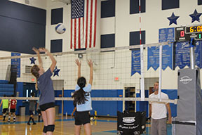 Girls Volleyball team wins first game of season, 2-0