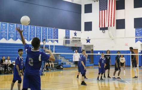 Jordan Haynes, seventh grader, bumps the ball to the other side.  The boys played against Duncan on Tuesday, May 3