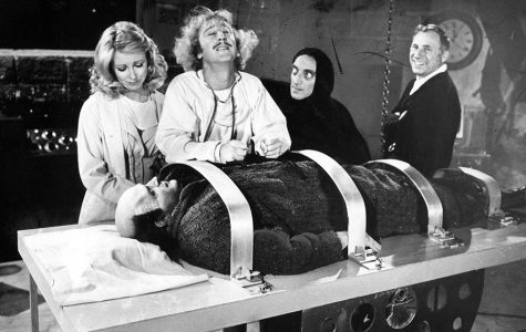 1974 staff file photo from the set of Young Frankenstein. From left: Teri Gar, Gene Wilder, Marty Feldman, Mel Brooks and Peter Boyle as Young Frankenstein.