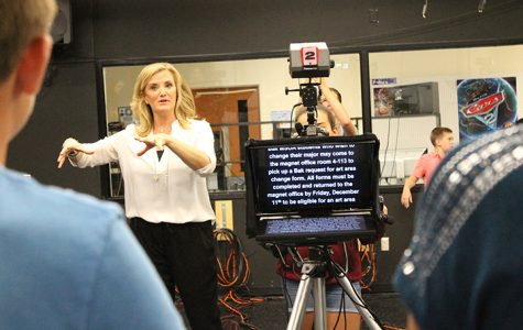WPBF anchor Tiffany Kenney works with the crew of Bak's video announcement MSOA Today.