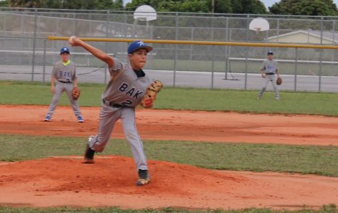 Luca Oberndorfe pitches the ball in the beginning of the Jupiter game. This game took place at Bak's home field on Sept. 22 and ended in a Bak loss of 1-11.