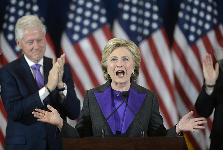 Presidential candidate Hillary Clinton delivers her concession speech on Wednesday, Nov. 9, 2016 from the New Yorker Hotel's Grand Ballroom in New York City, N.Y. (Olivier Douliery/Abaca Press/TNS)