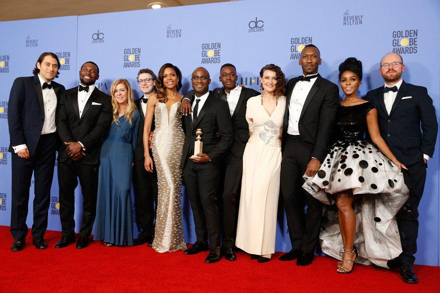 Writer/director Barry Jenkins of Moonlight along with the cast and producers backstage at the 74th Annual Golden Globe Awards show at the Beverly Hilton Hotel in Beverly Hills, Calif., on Sunday, Jan. 8, 2017.