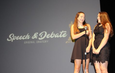 Tatiana Canessa and Jordan Taylor introduce the nominees for best speech and debate performances. In the end, the winner of original oratory was Katherine Oung with a speech entitled,