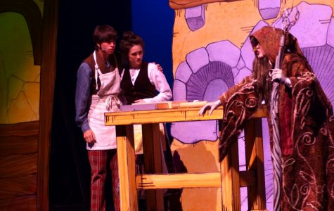 "Explaining how the Baker and his wife, eighth grade theater majors, Victoria Hockton and Seth Greenburg, may lift a curse on their house, the witch, Emily DeFabia, eighth grade theater major, jumps at the couple telling them to ""Go to the wood!"" ""I love being the witch because I love her ecstatic personality,"" Defabia said."