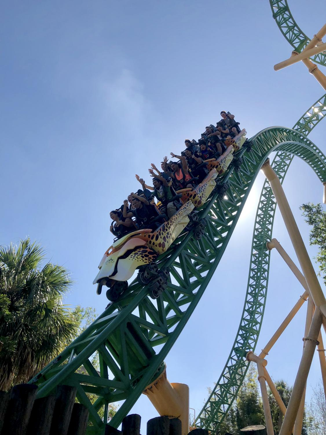 Students ride various roller coasters for science and discovery of g-forces.