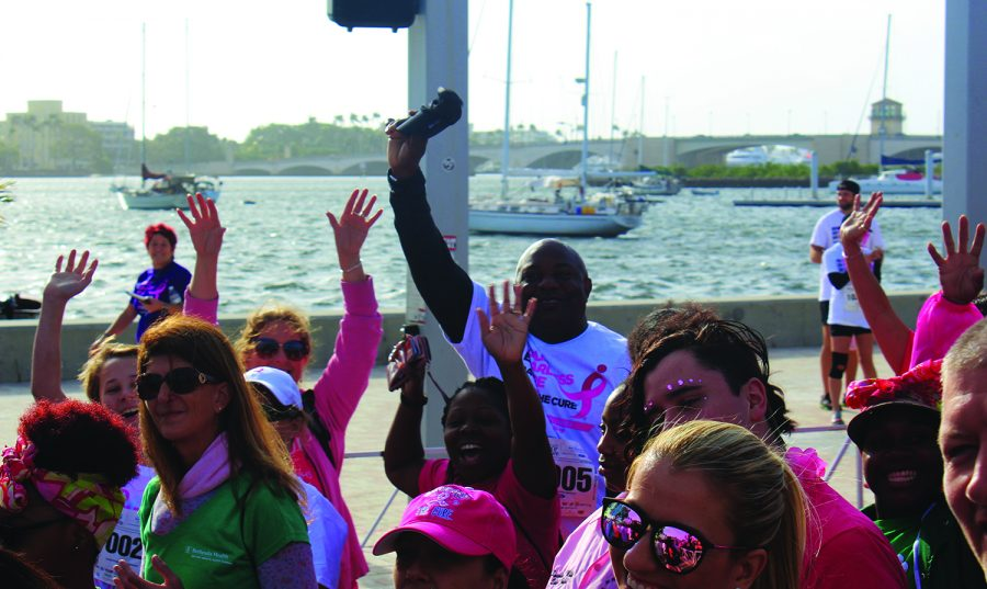 """(From left to right) Member of NJHS, Alex Jones, and Baks faculty, Bonnie McCarthy, Shakendra Moorer, and Lee Glaze cheer as they begin to walk. """"It was inspiring to see so many people walking and supporting a worthy cause,"""" McCarthy said."""